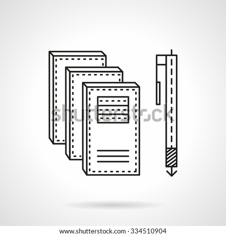 Three notebooks and pen. Supplies for office. manager, school. Flat thin line style vector icon. Single element of web design for site or mobile app. - stock vector