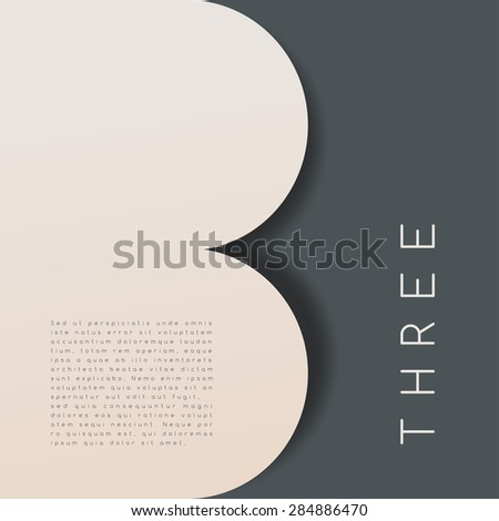 Three : Numeral Graphic in Overlapping Element : Vector Illustration - stock vector