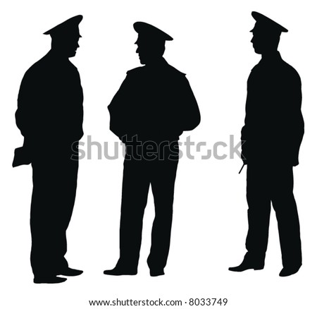 Three officers of policemen on work discuss task