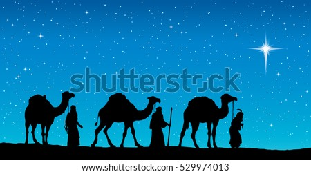 Three old orient Magi following east comet leading to new born holy baby Jesus Christ in Bethlehem present gifts gold, frankincense, myrrh. Dark black ink hand drawn backdrop card with space for text