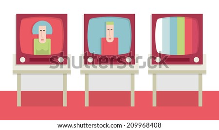 Three old televisions, retro TVs, vector cartoon illustration - stock vector