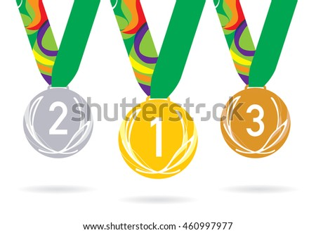 Three olympic medals on the ribbon. Vector illustration. Gold, silver and bronze olympic medals. Laurel leaf on the medal face.