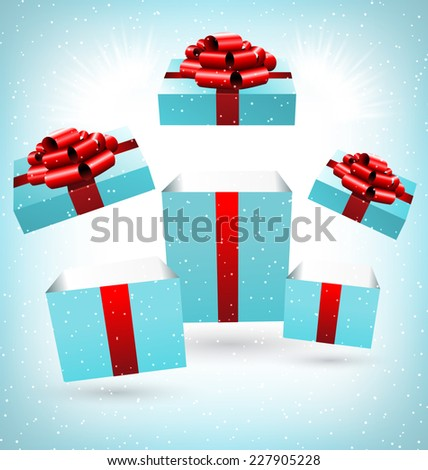 Three opened blue gift boxes with red bows in snowfall on blue background - stock vector