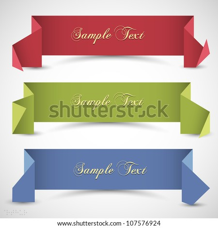 Three origami banners for design. Vector eps10 - stock vector