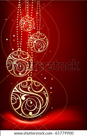 three ornamental christmas decoration on red background - stock vector