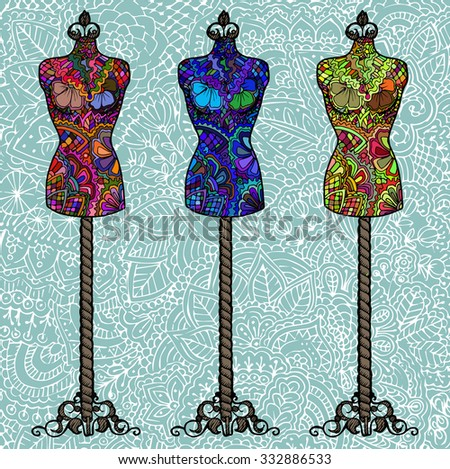 Three ornate female mannequin on an abstract colored background