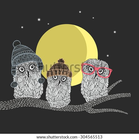 Three owl friends on the tree in the night forest. Birds with warm hats of scandinavian style. Vector illustrations.