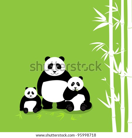 Three panda bear with bamboo - stock vector