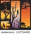 Three panels of African silhouettes with African wild animals in different habitats - stock vector
