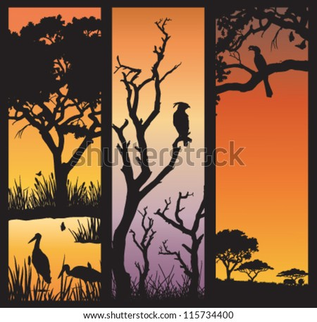 Three panels of African silhouettes with African wild animals in different habitats