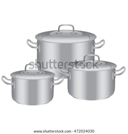 Three pans of stainless steel in different sizes. Vector illustration