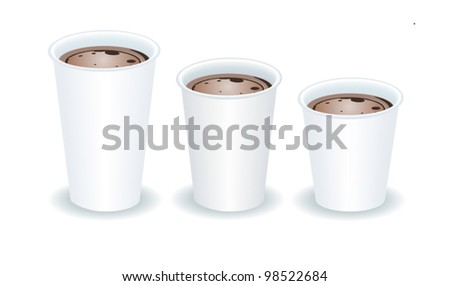 three paper cups filled with cocoa