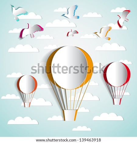 Three paper hot air balloons in the sky with paper birds - vector illustration - greeting card - stock vector