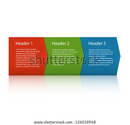 Three paper labels pointing on each other oriented horizontally. EPS10 vector. - stock vector