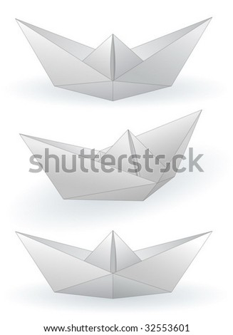 Three paper ships isolated on white - vector - stock vector