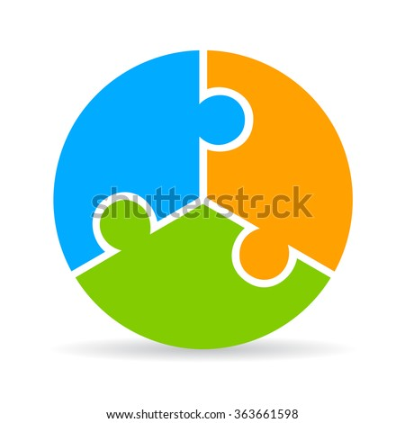 Three part puzzle process diagram isolated on white background - stock vector