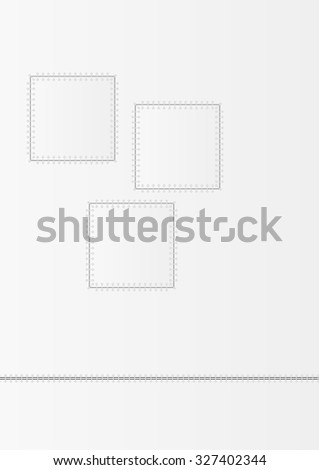 three patched squares illustration with gray background
