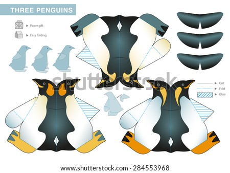 Three Penguins Paper Model. Cut-outs for children. Small home craft project or printable paper gift. Vector template. - stock vector