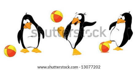 Three penguins playing wtih ball - stock vector