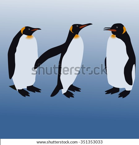Three penguins - vector illustration