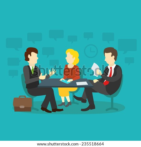 three people at the table interviewing for job - stock vector