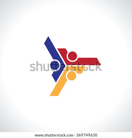 three people icon. people friends logo concept vector icon. this icon also represents friendship, partnership cooperation unity - stock vector