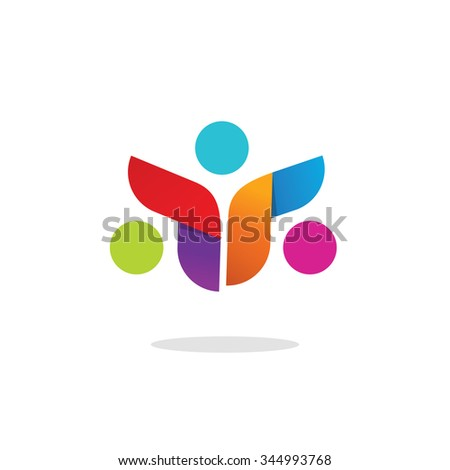 Three people logo colorful abstract vector symbol. Group of 3 happy motivated persons together with hands. Community cooperation unity friends vector icon logotype design. Friends society symbol.