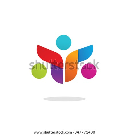Three people logo colorful abstract vector symbol. Group of 3 happy motivated persons together with hands. Community cooperation unity friends vector icon logotype design. Friends society symbol sign - stock vector