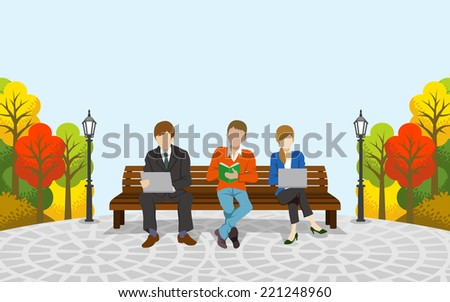 Three people sitting on the bench, Autumn park-EPS10 - stock vector