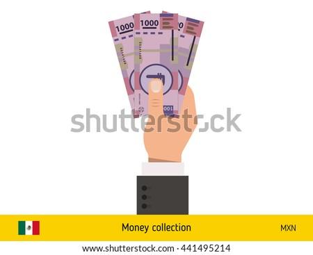 Three peso in hand. Mexican peso banknote vector illustration. - stock vector