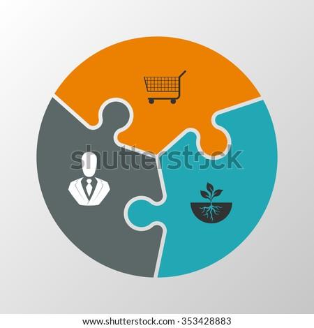 three piece flat puzzle round infographic stock vector 353428883