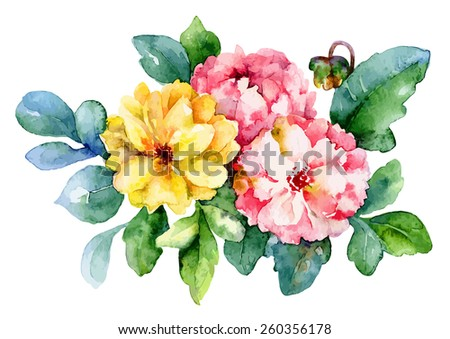 Three pink and yellow dahlia isolated on white background. Vector illustration - stock vector