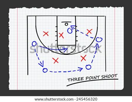 three point shoot on paper - stock vector