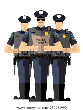 Three police officers were arrested. Police silhouette. Police isolated. The Arrest - stock vector