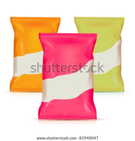 Three potato plastic bags - stock vector