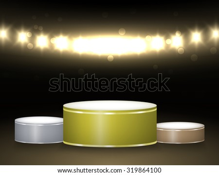 Three prize winners podium in spotlights. Vector illustration. - stock vector