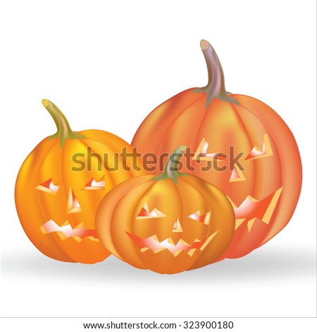 Three pumpkins on a white background vector