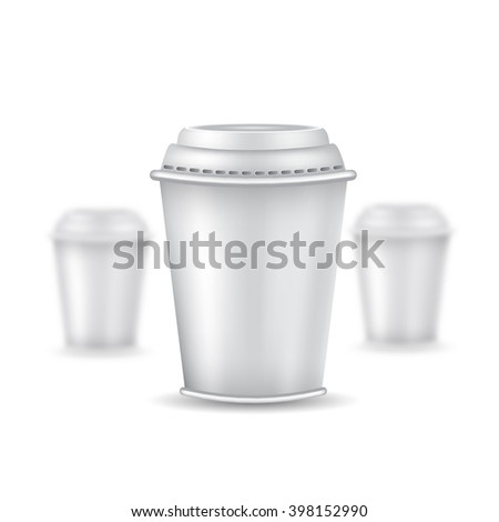 Three realistic mock up coffee or tea plastic cup with cap on white background. Vector illustration with depth of field effect