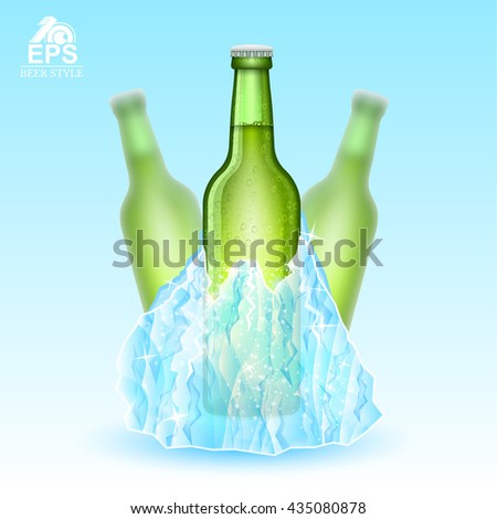 Three realistic mock up green bottle of beer frozen-in iceberg on blue background. Vector illustration with depth of field effect