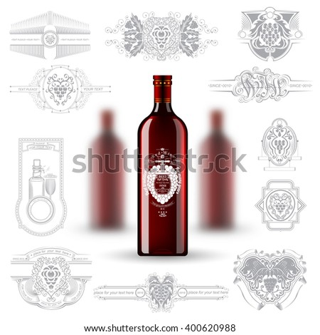 Three realistic mock up red wine bottle and silhouette labels on white background. Vector illustration with depth of field effect - stock vector