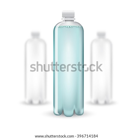Three realistic mock up white plastic bottle with clean blue watter on white background. Vector illustration with depth of field effect - stock vector