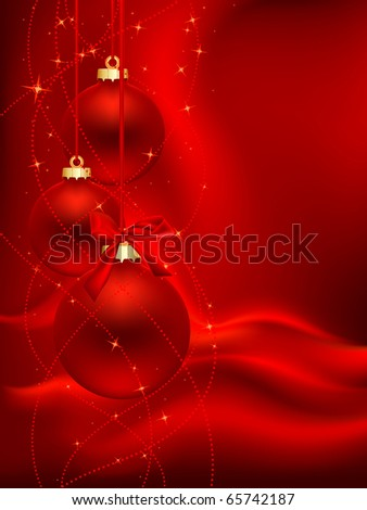 three red christmas ball on red satin background - stock vector