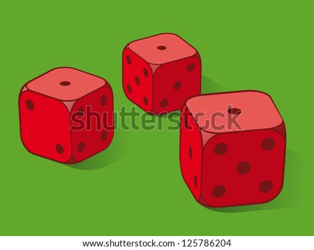 Three red dice on green conceptual of playing cards or gambling on a gaming table, three ones uppermost - stock vector