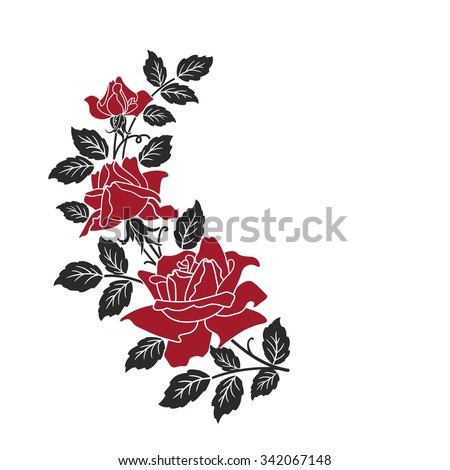 three red roses on white - stock vector