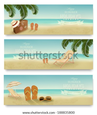 Three retro summer vacation banners. Vector.  - stock vector