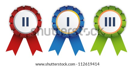 Three ribbon badges for competition winners. - stock vector