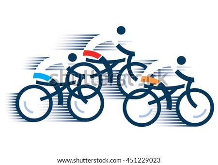 Three Road cyclists Stylized drawing of road cyclists, isolated on the white background. Vector available.