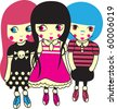 three rockstar girl - stock vector