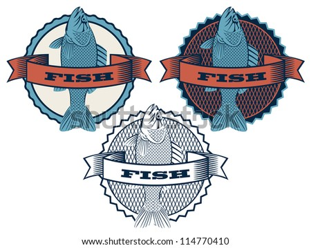Three round banner with fish - stock vector