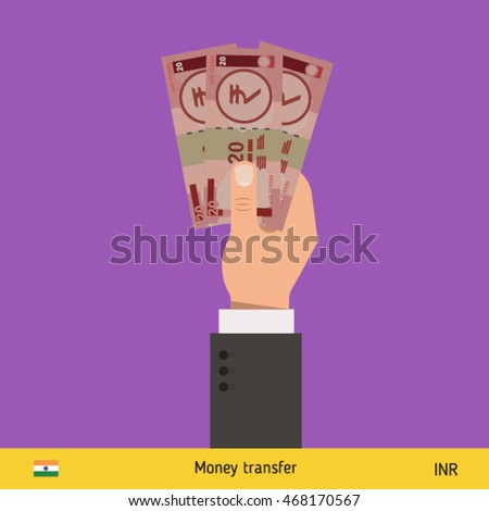 Three rupee in hand. Indian rupee banknote vector illustration.